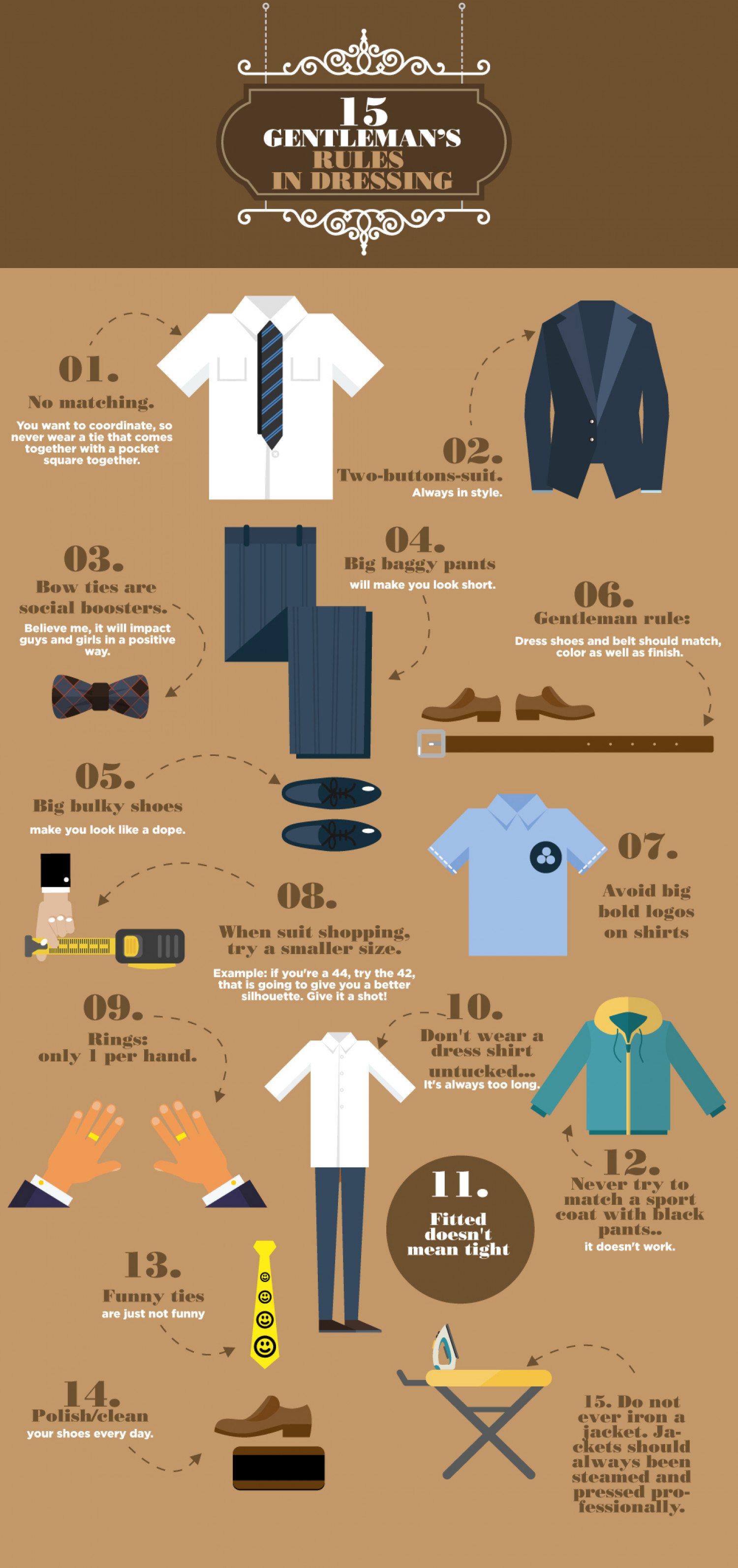 15 GENTLEMAN'S RULES IN DRESSING Infographic