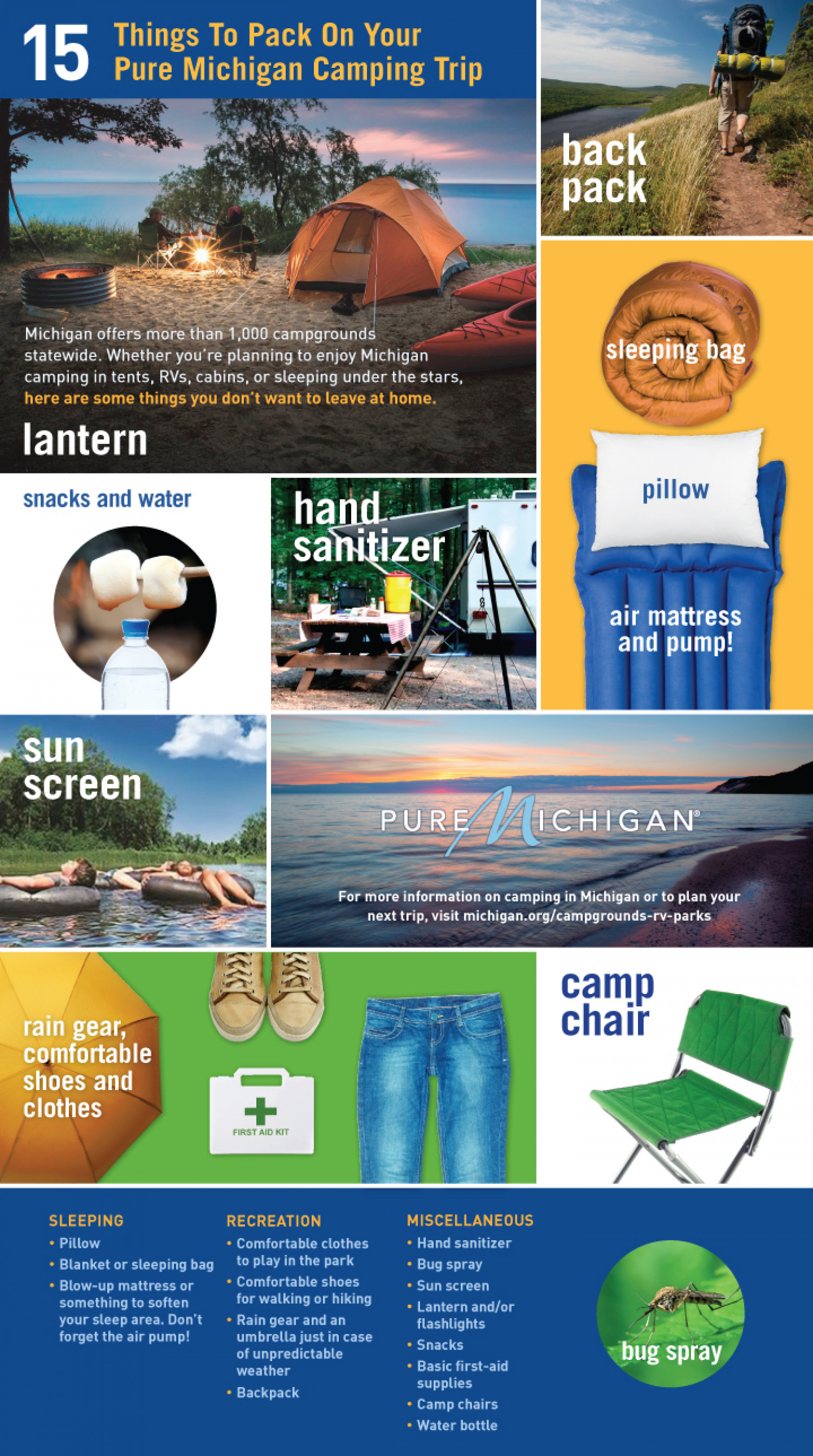 15 Things To Pack On Your Pure Michigan Camping Trip Infographic