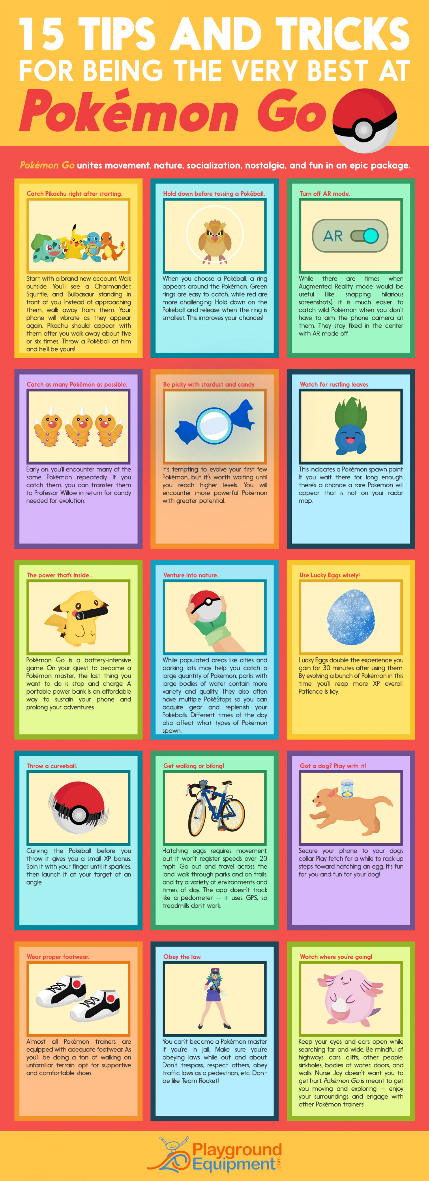 15 Tips and Tricks for Being the Very Best at Pokémon Go Infographic