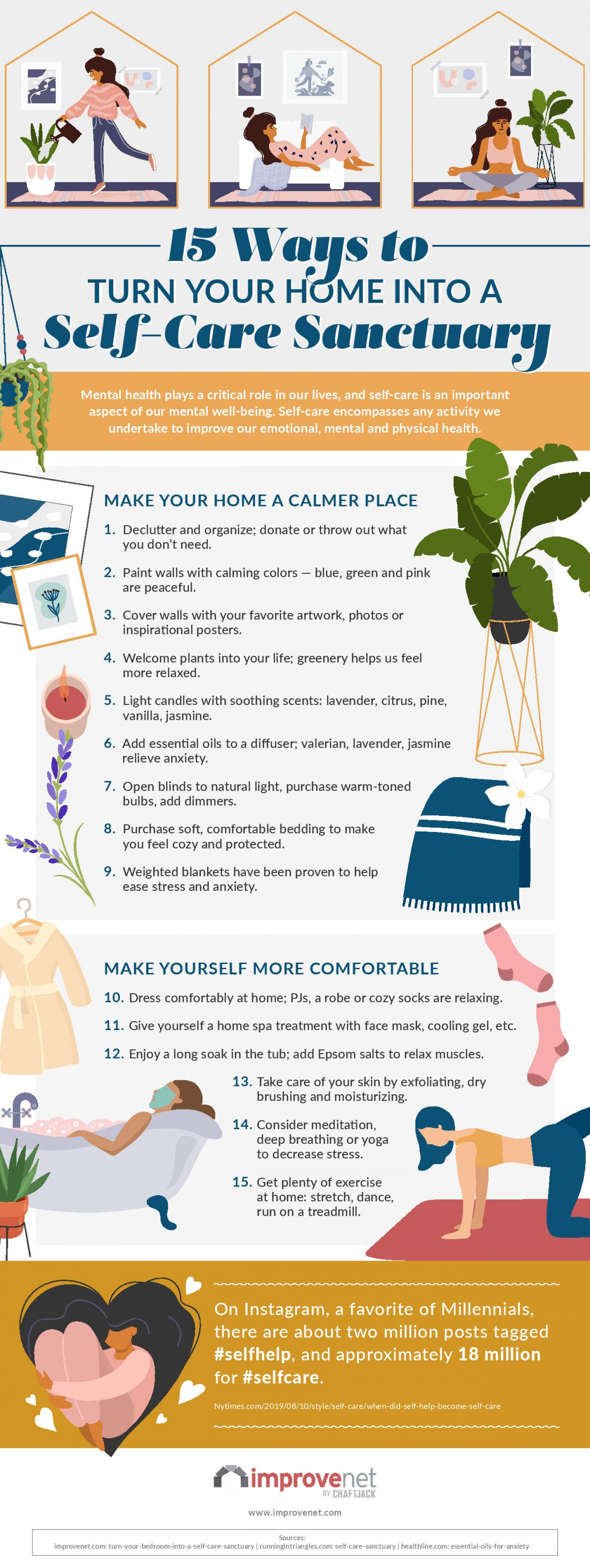 15 Ways To Turn Your Home Into A Self-Care Sanctuary Infographic