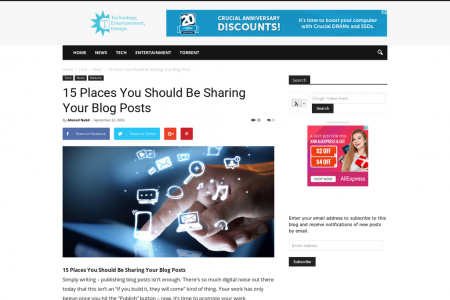 15 Places You Should Be Sharing Your Blog Posts Infographic