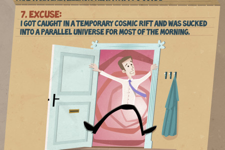 16 Excuses For Being Late To Work Infographic