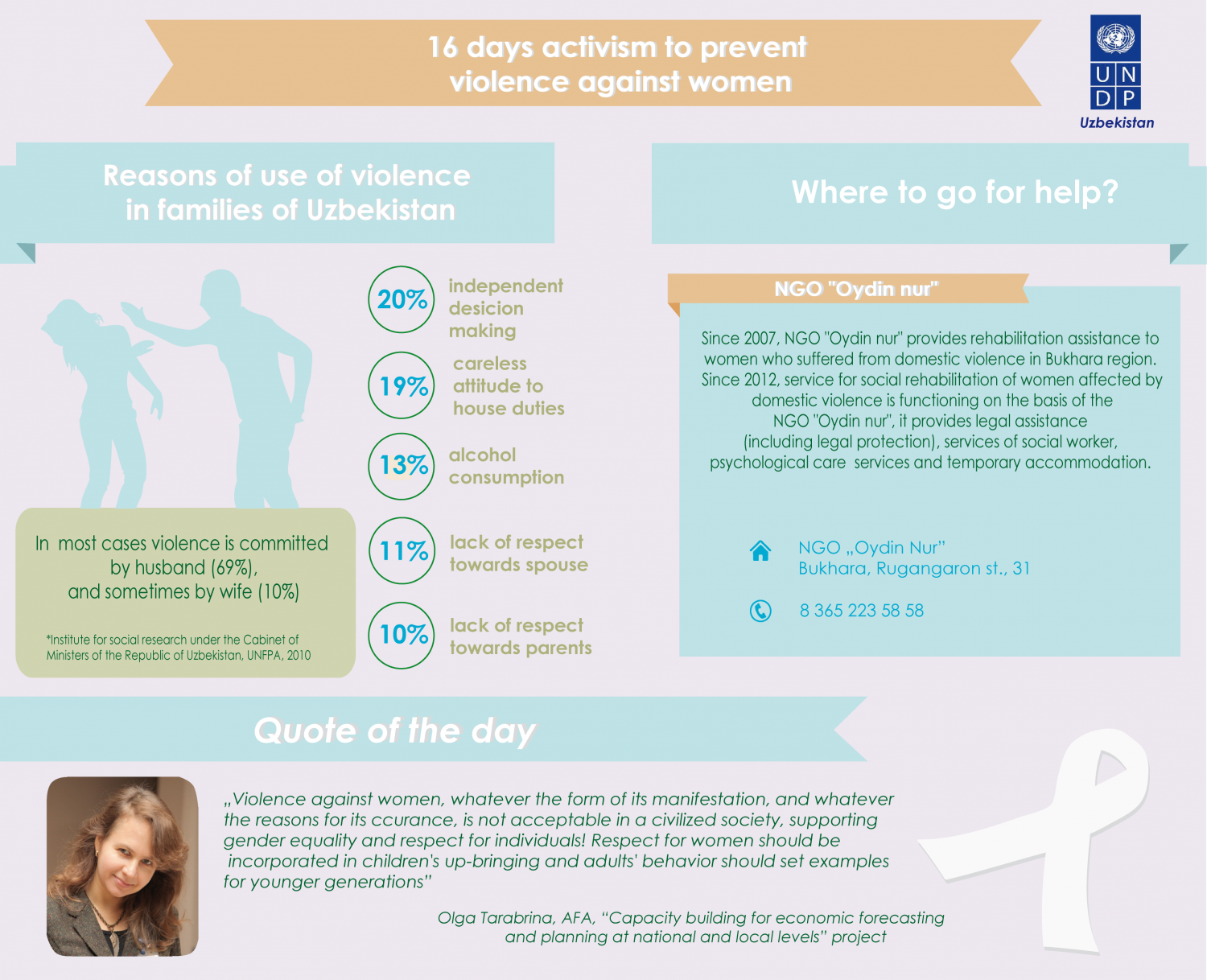 Reasons of use of violence in families in Uzbekistan Infographic
