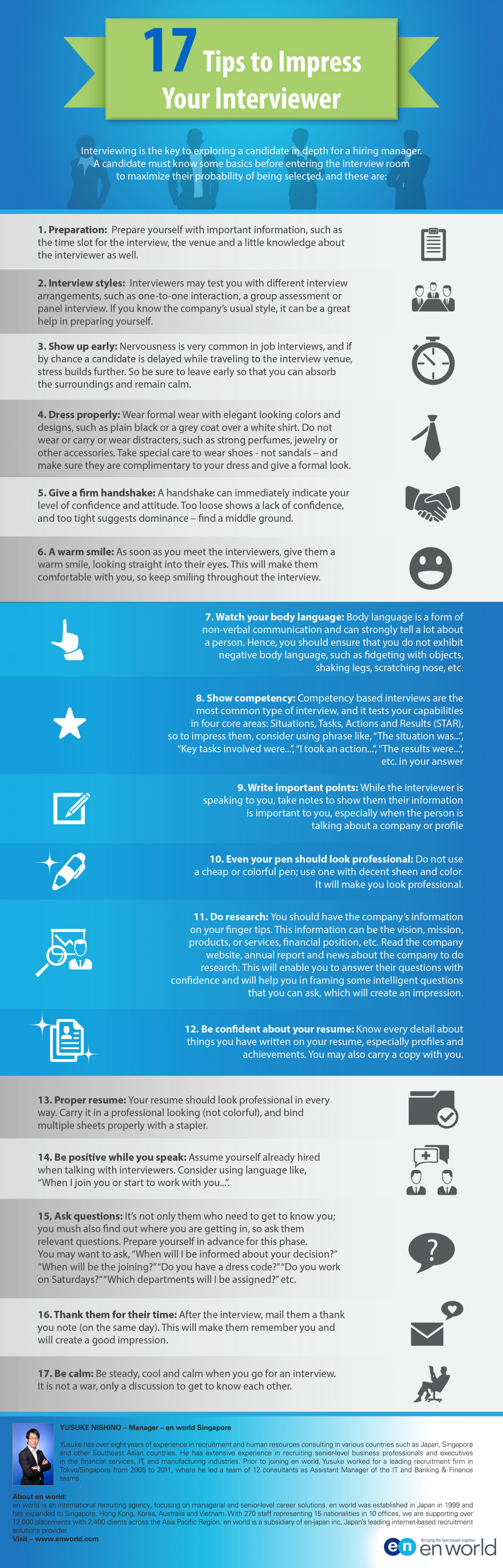 17 Tips to Impress Your Interviewer Infographic