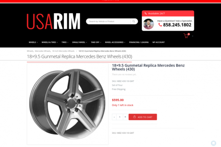 18×9.5 Gunmetal Replica Mercedes Benz Wheels (430) Infographic