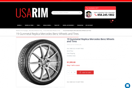 19 Gunmetal Replica Mercedes Benz Wheels and Tires Infographic