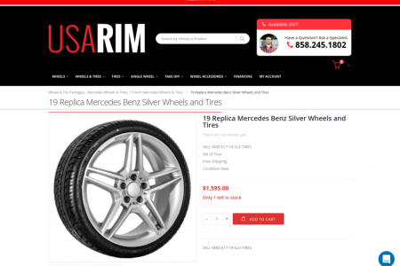 19 Replica Mercedes Benz Silver Wheels and Tires Infographic