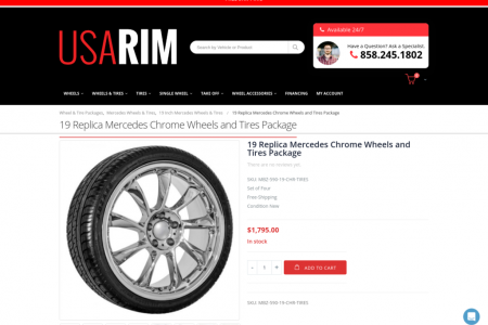 19 Replica Mercedes Chrome Wheels and Tires Package Infographic