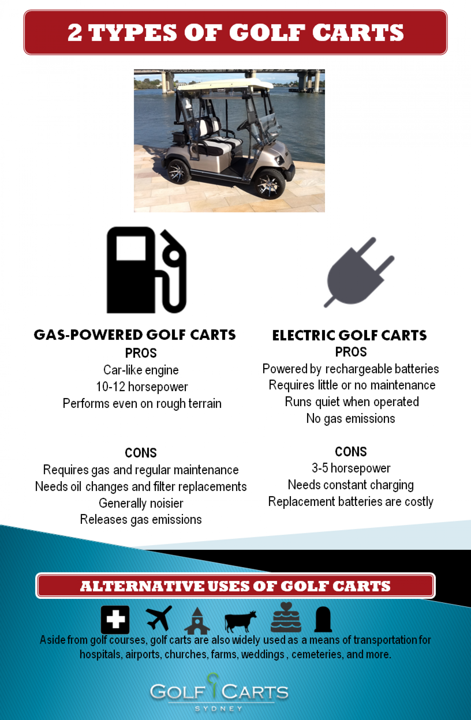 2 Types of Golf Carts | Visual.ly on ezgo carts, electric push cart, electric 4 wheelers, electric deer cart, luxury carts,