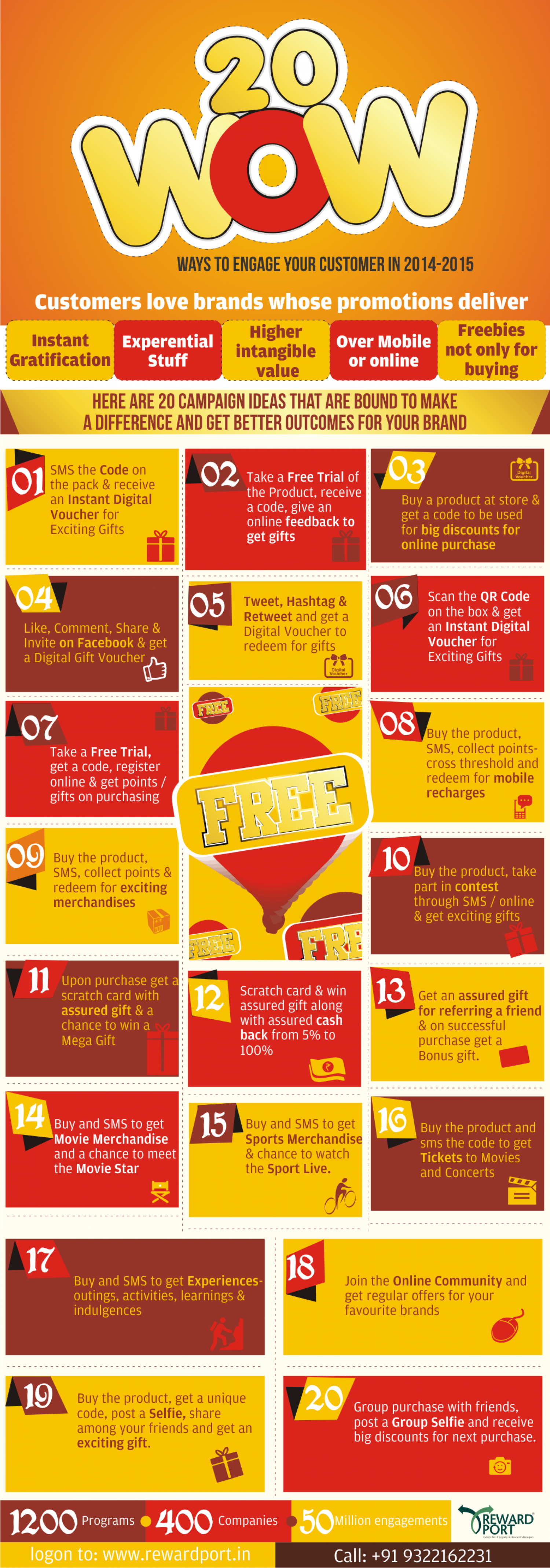 20 'WOW' Sales Promotions & Customer Engagement Ideas for 2014-15 Infographic