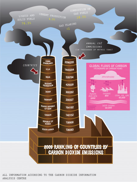 2009 Ranking of Countries by C02 Emissions Infographic