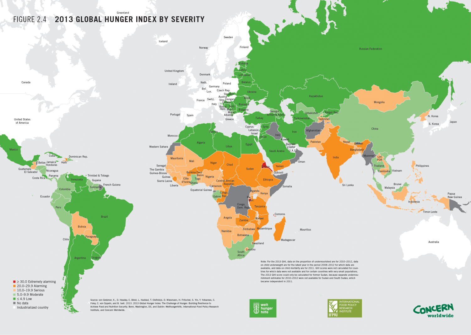 2013 Global Hunger Index by Severity Infographic