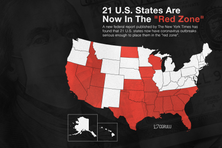 21 U.S. States Are Now In The Red Zone Infographic