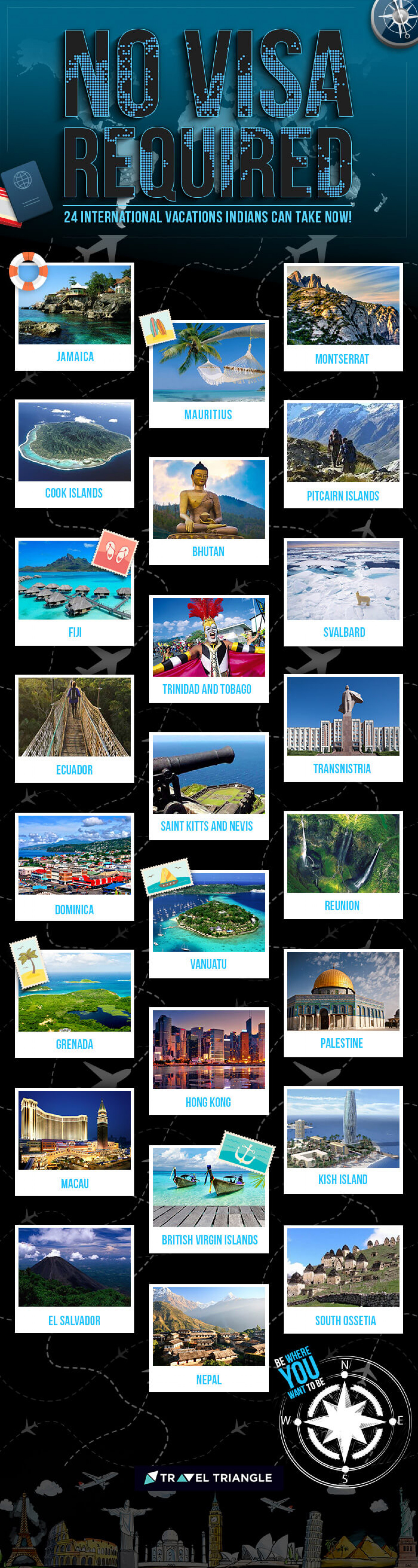 24 Amazing International Vacations Indians Can Take Without A Visa Infographic