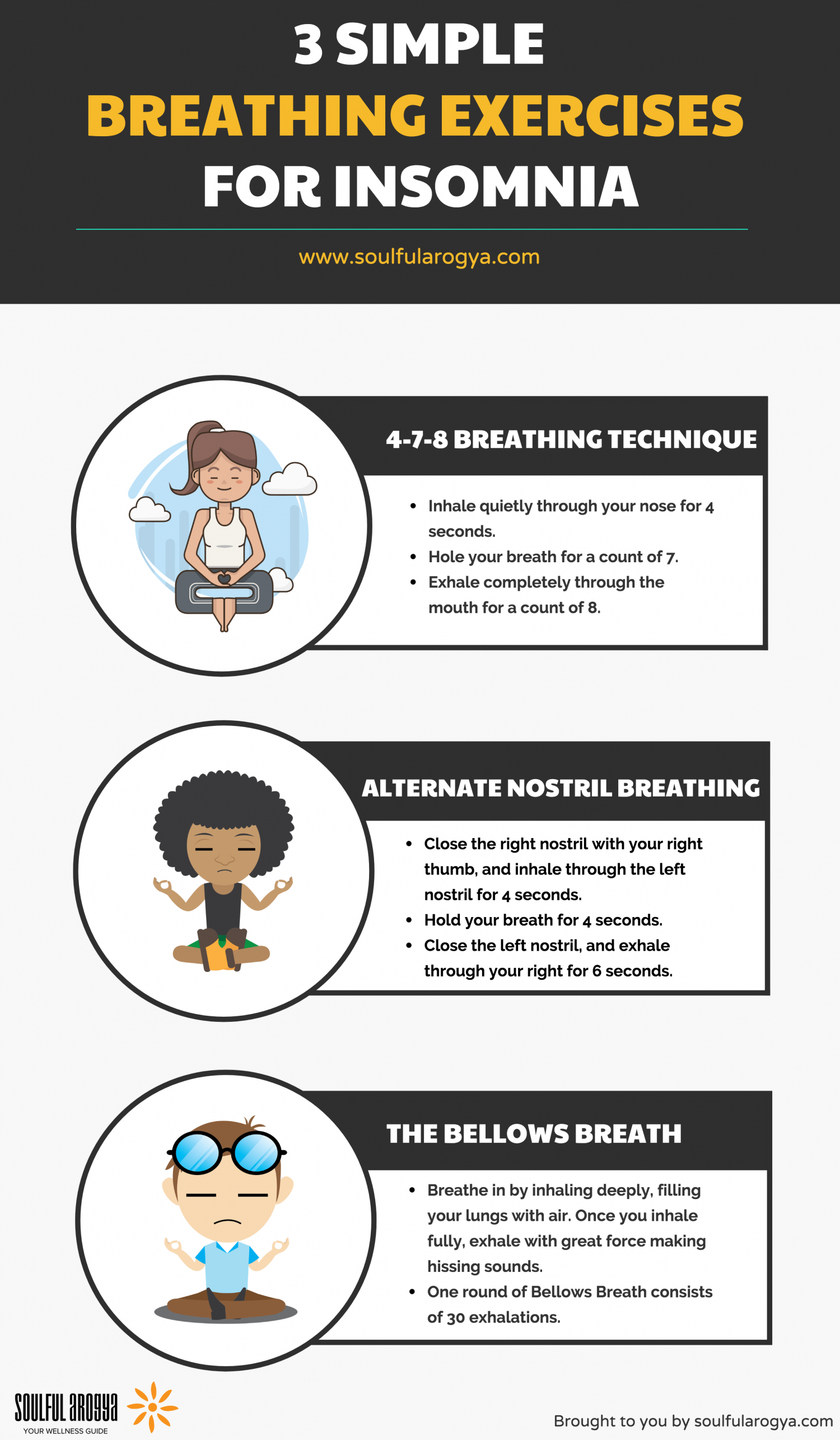 3 Simple Breathing Exercises for Insomnia Infographic