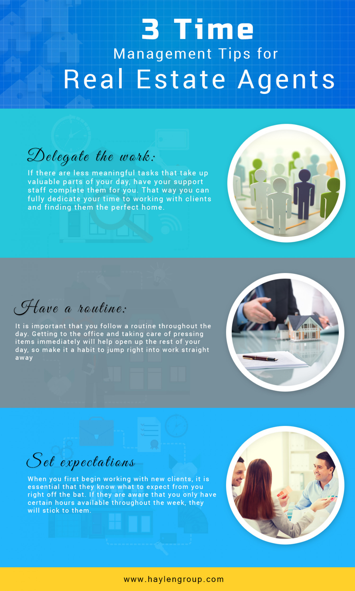 3 Time Management Tips for real Estate Agents Infographic