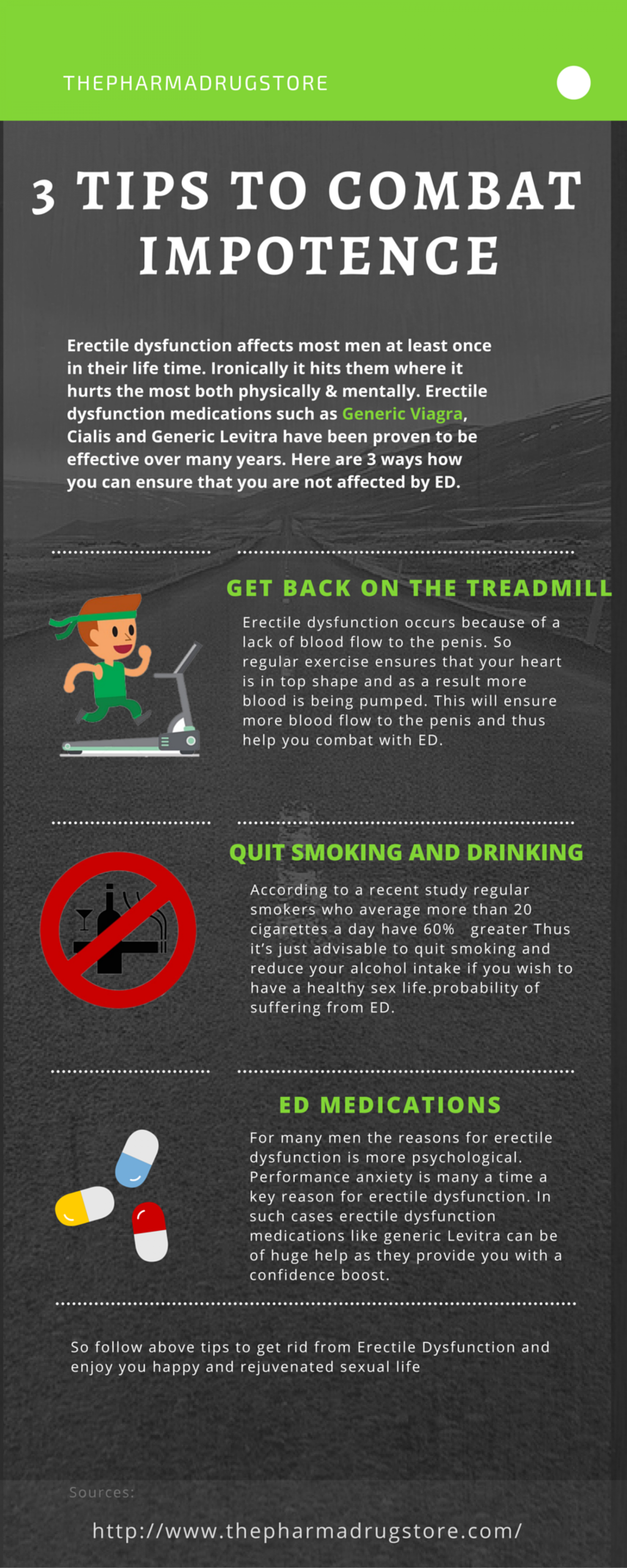 3 Tips to combat impotence Infographic
