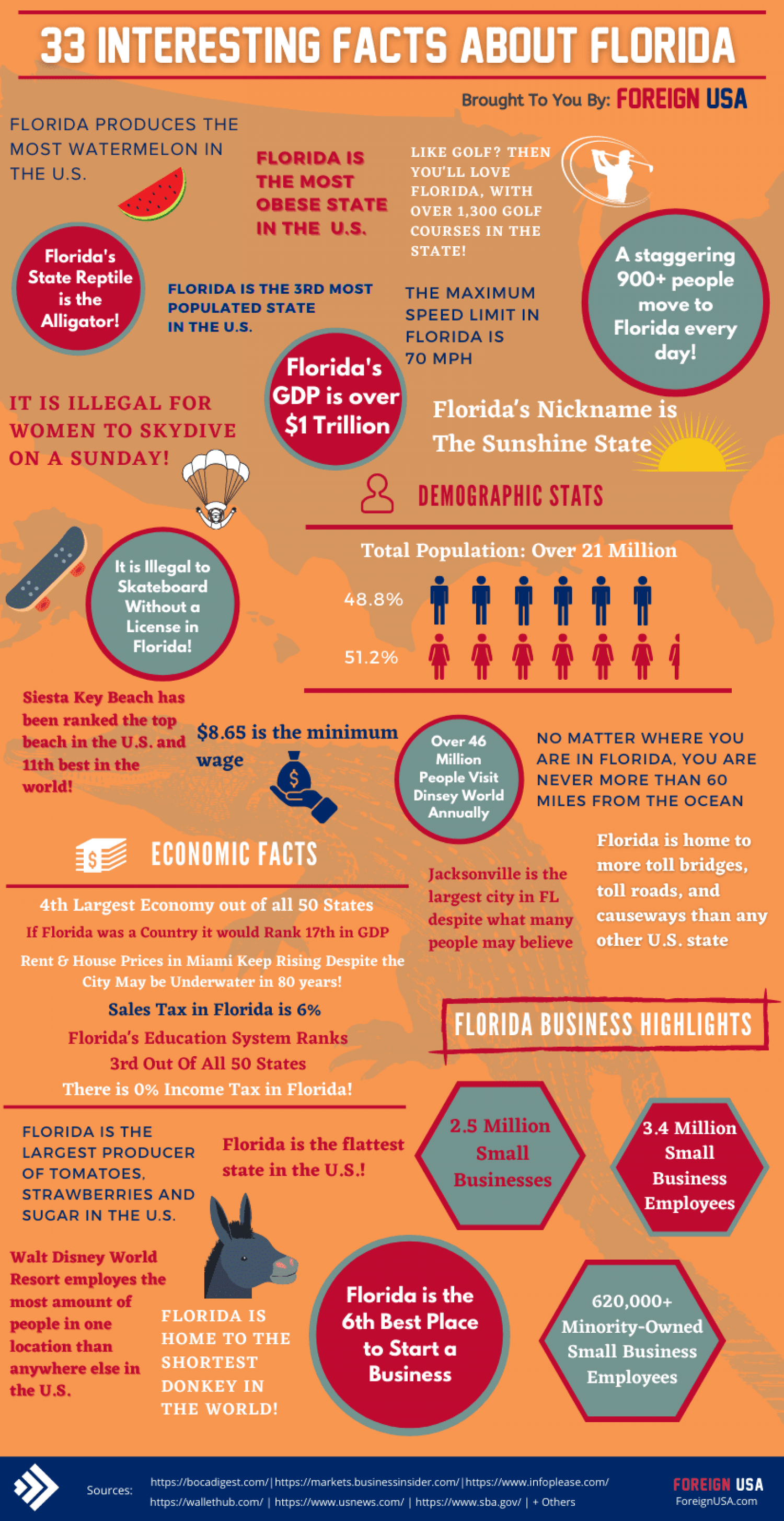 33 Interesting Facts About Florida Infographic