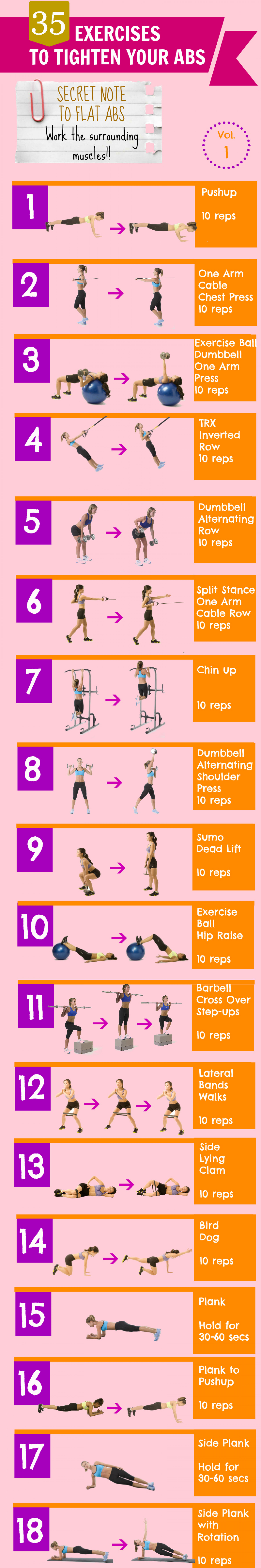 35 Exercises to Tighten Your Abs. Vol. 1 Infographic