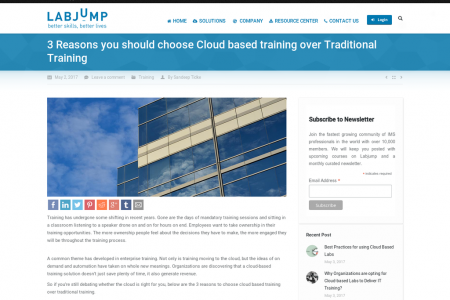 3 Reasons you should choose Cloud based training over Traditional Training Infographic