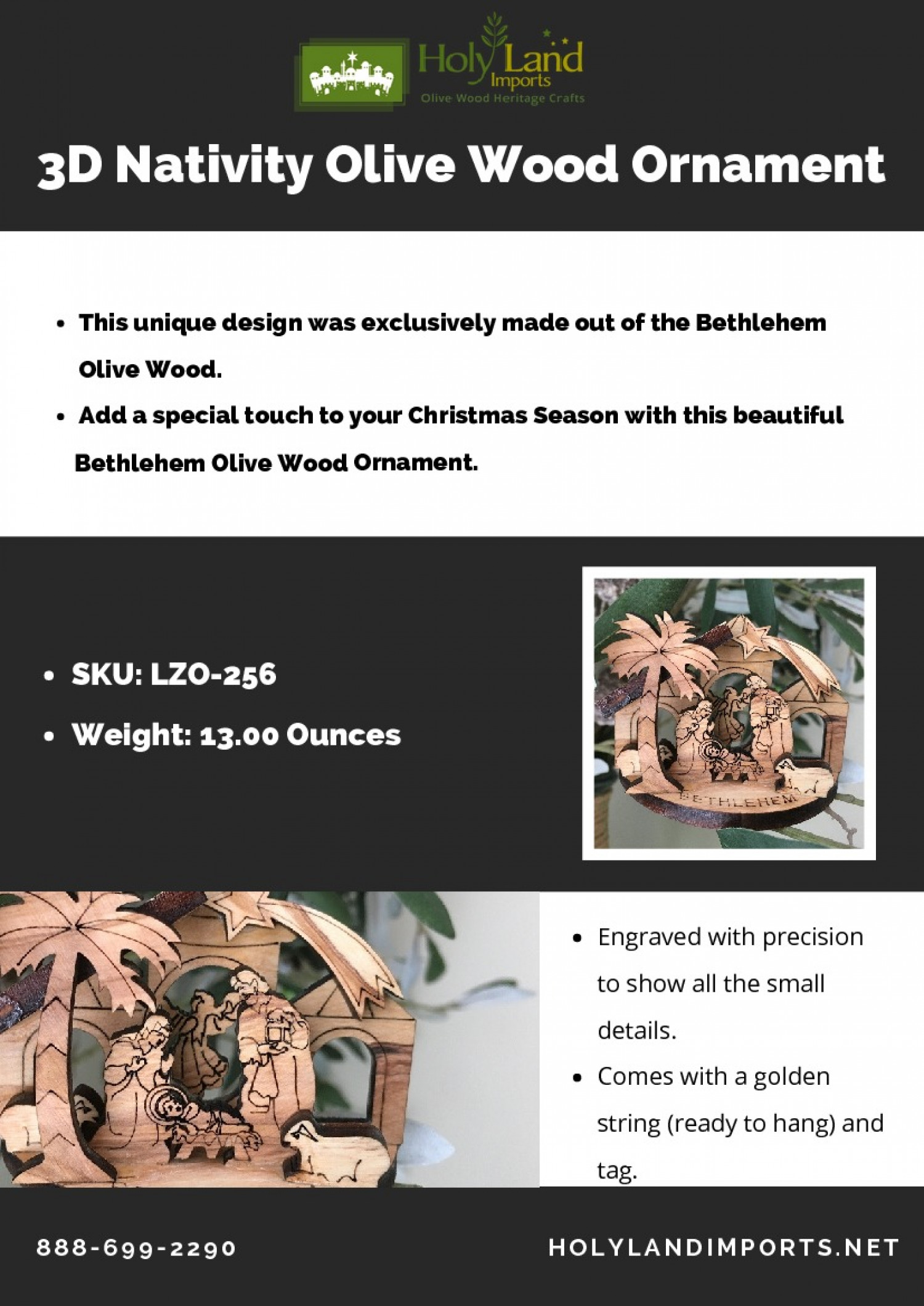 3D Nativity Olive Wood Ornament - Holy land Imports Infographic