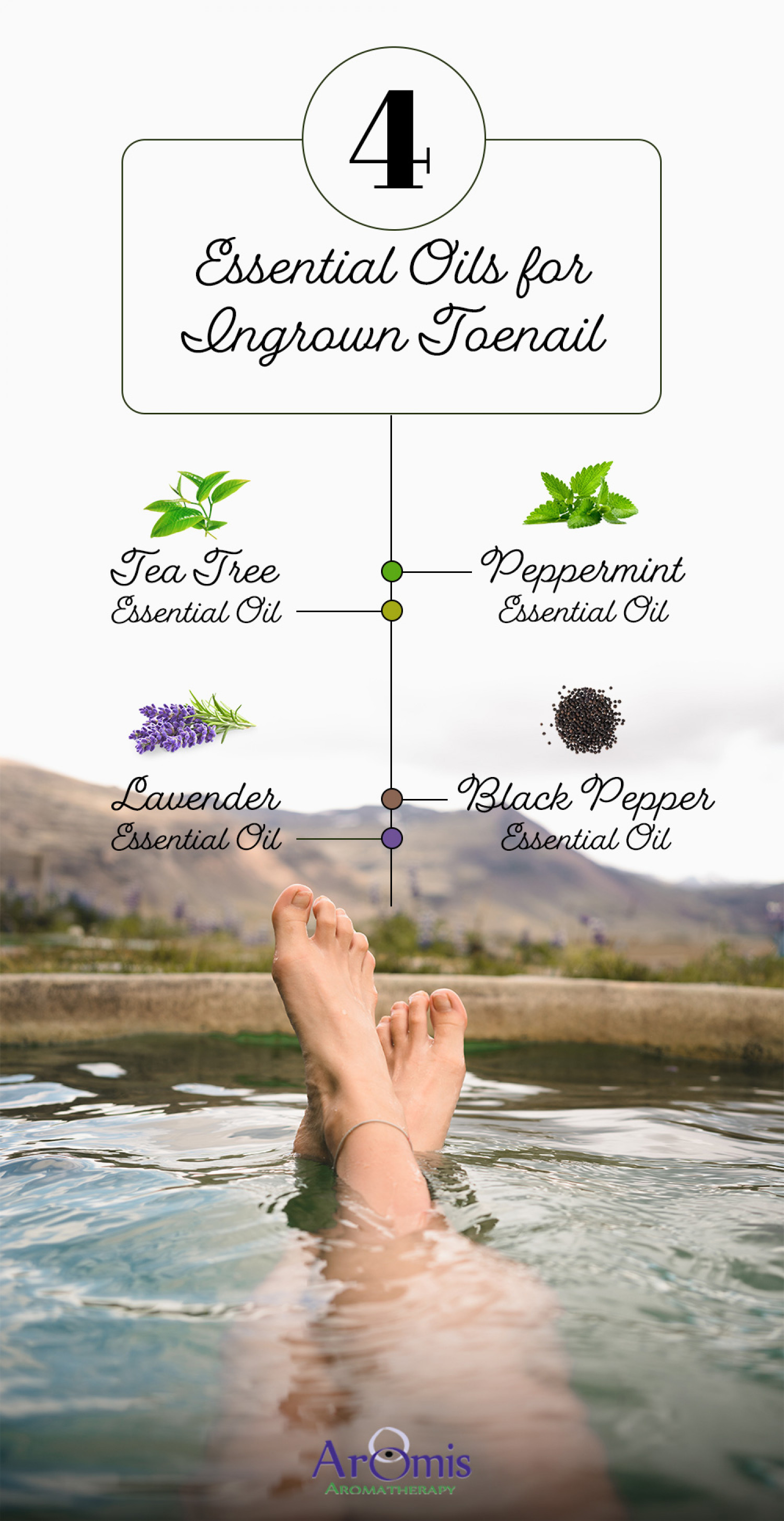 4 Essential Oils for Ingrown Toenail Infographic