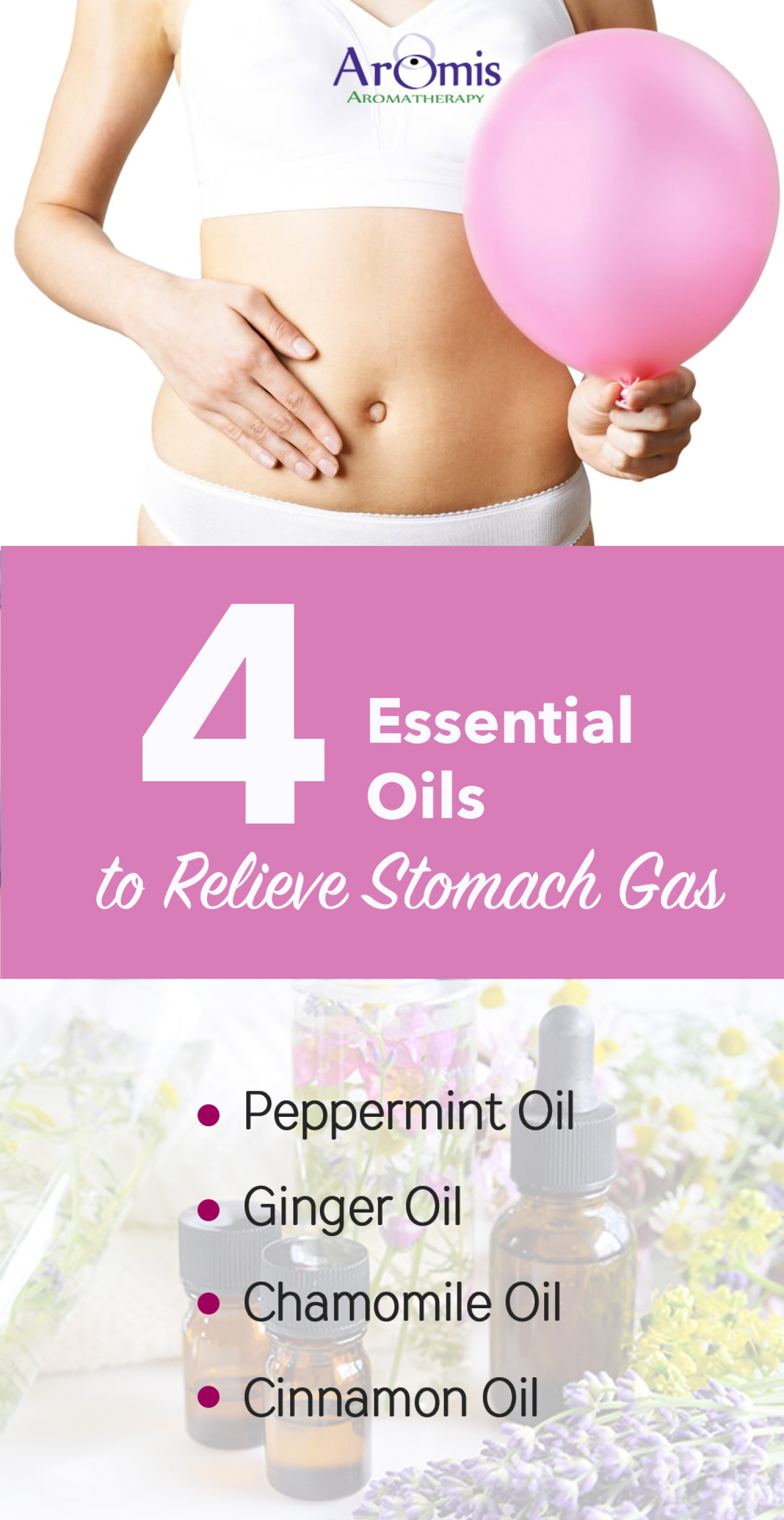 4 Essential Oils to Relieve Stomach Gas Infographic