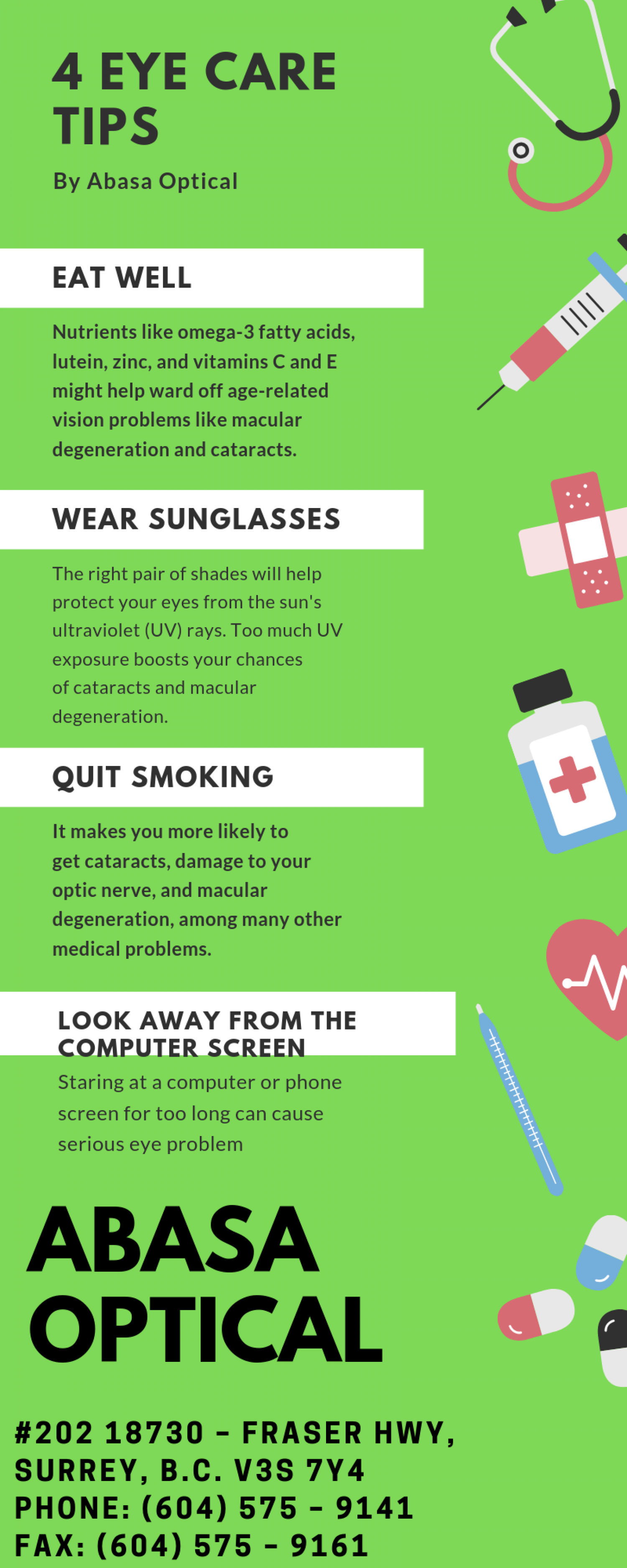 4 Eye Care Tips By Abasa Optical Infographic