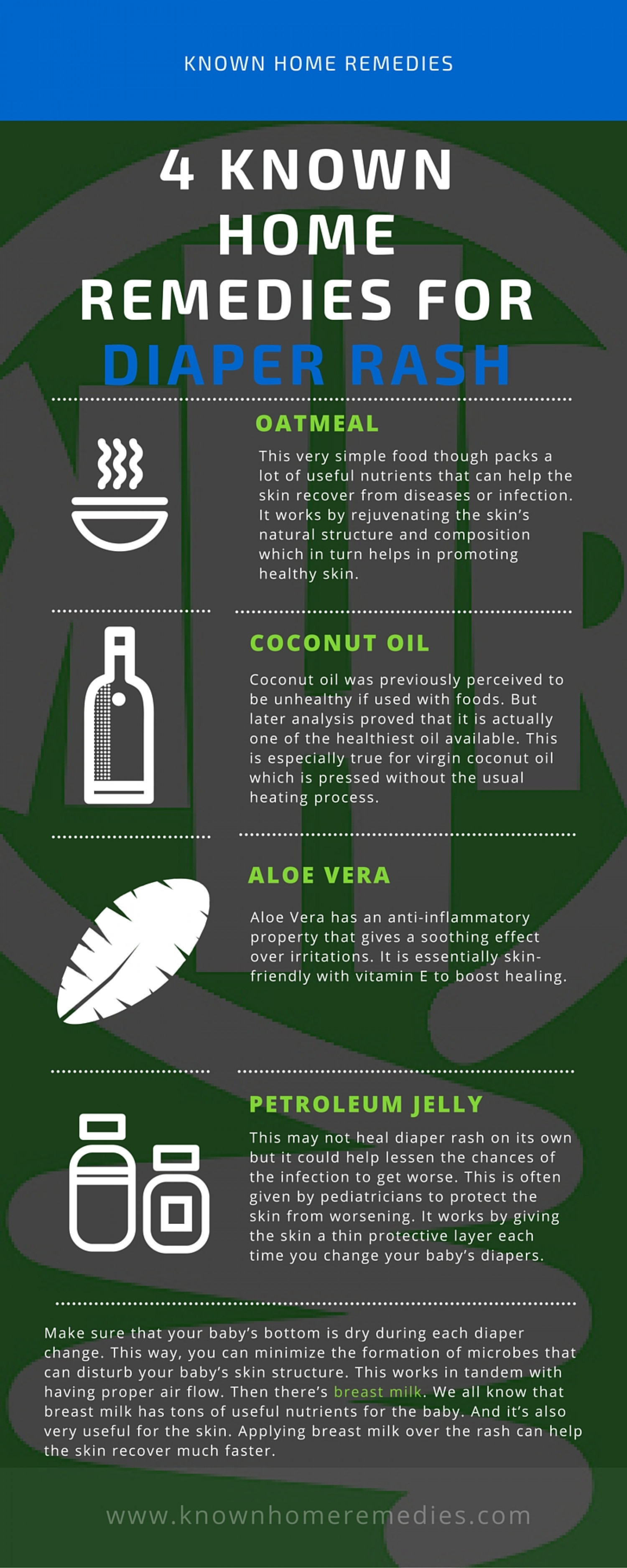 4 Known Home Remedies for Diaper Rash Infographic
