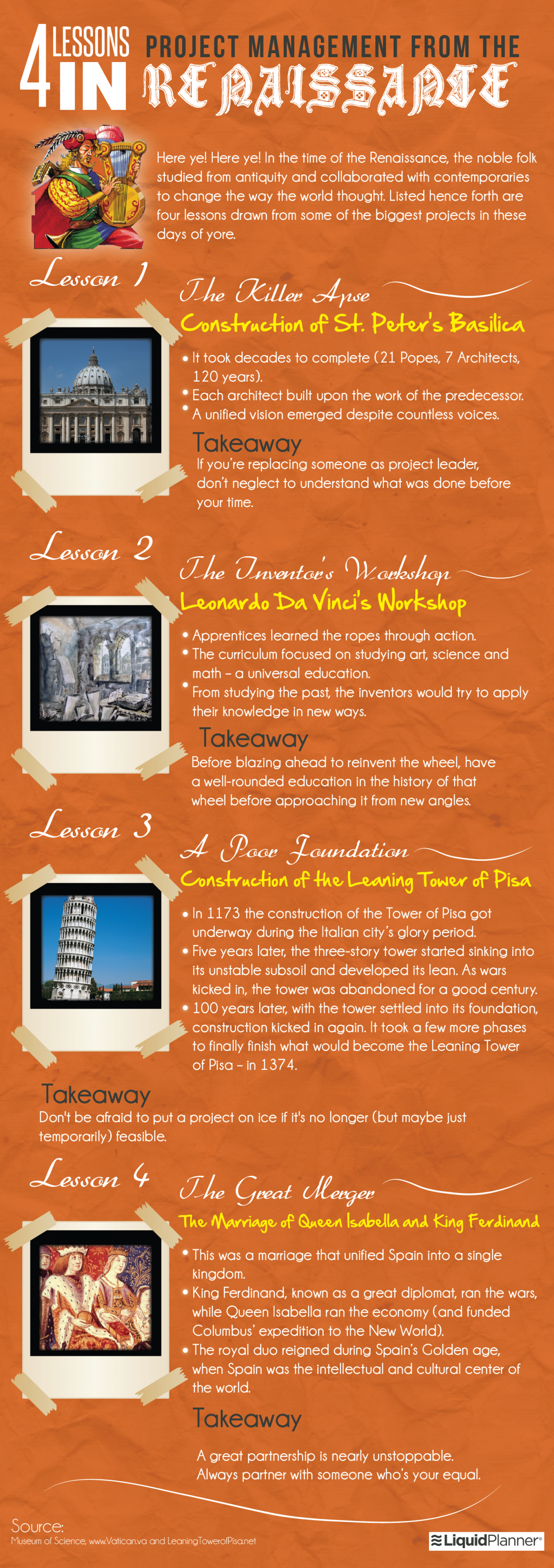 4 Lessons in Project Management from the Renaissance Infographic