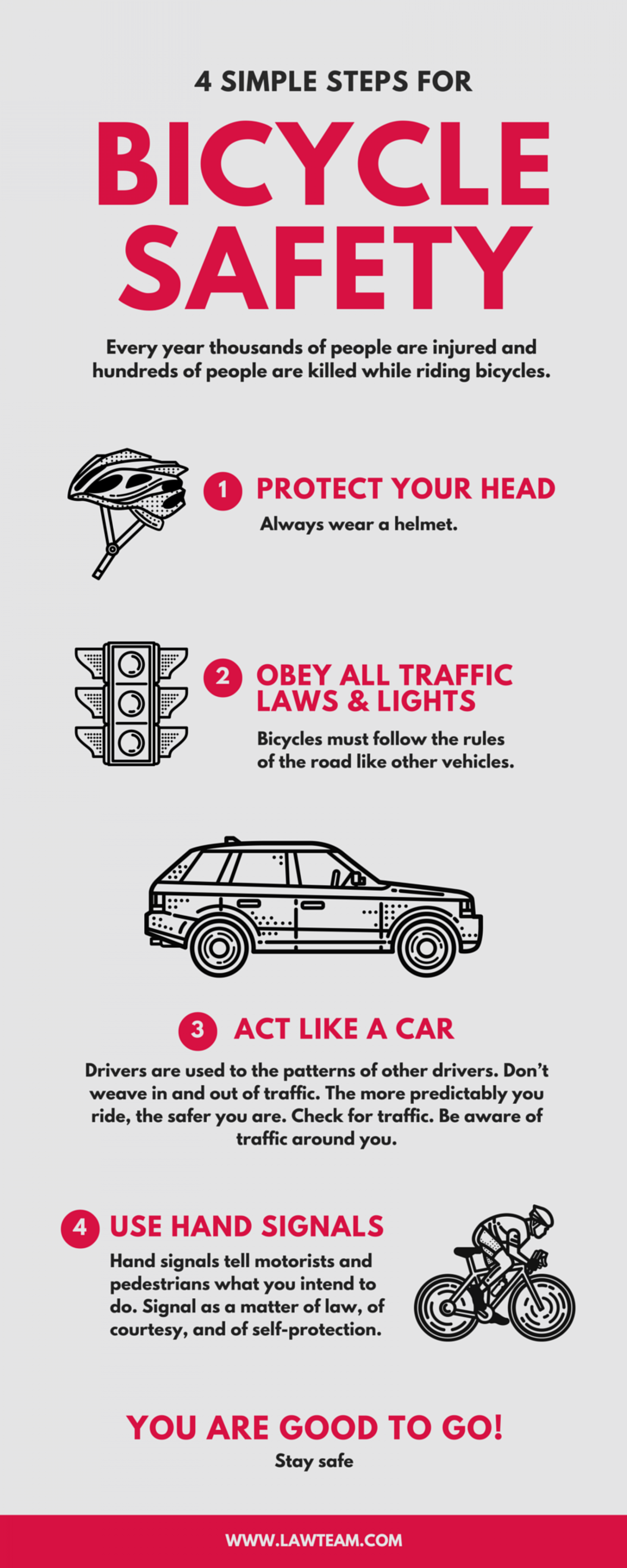 4 Simple Steps for Bicycle Safety Infographic