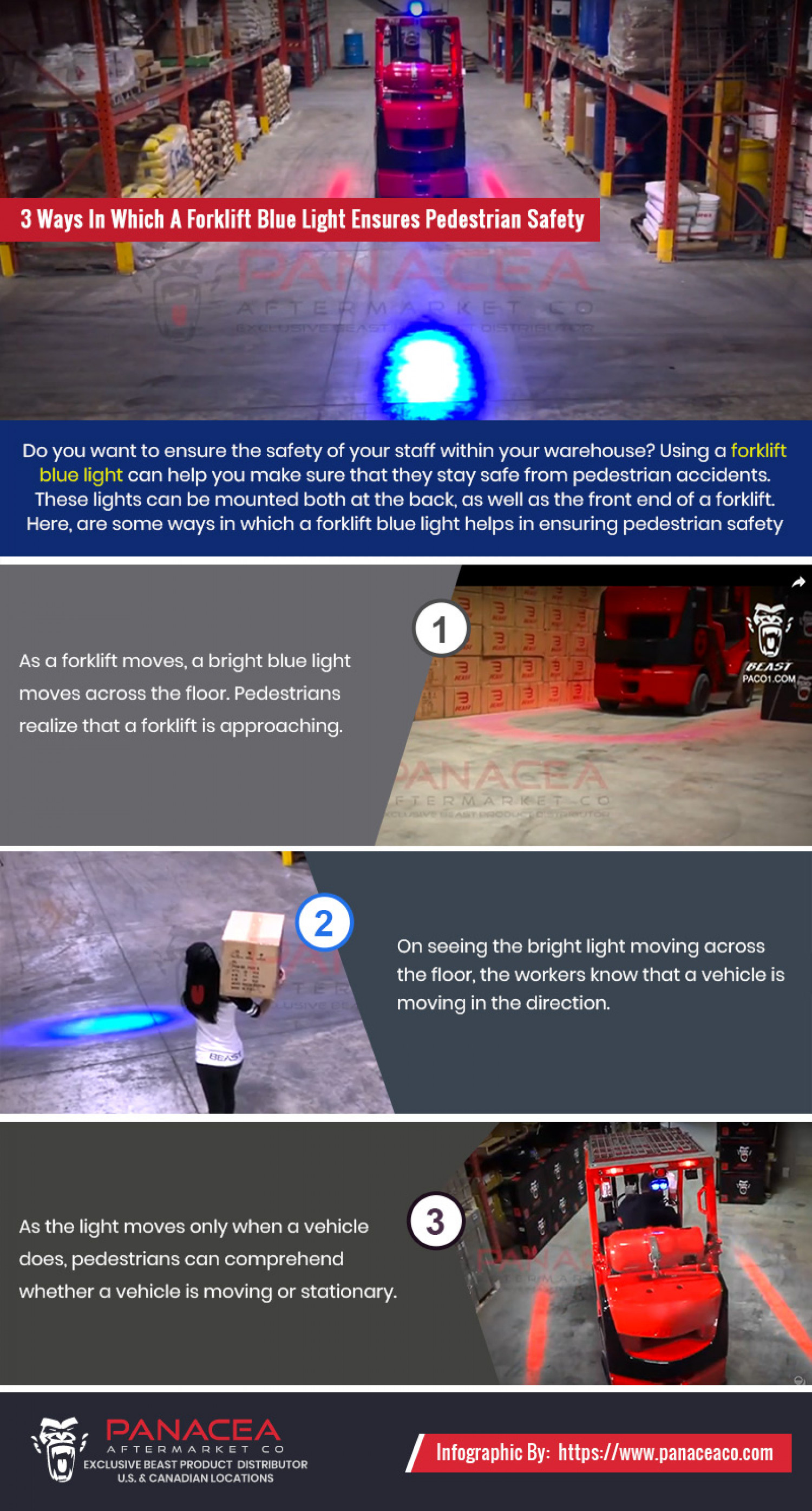 4 Ways In Which A Forklift Blue Light Ensures Pedestrian Safety Infographic