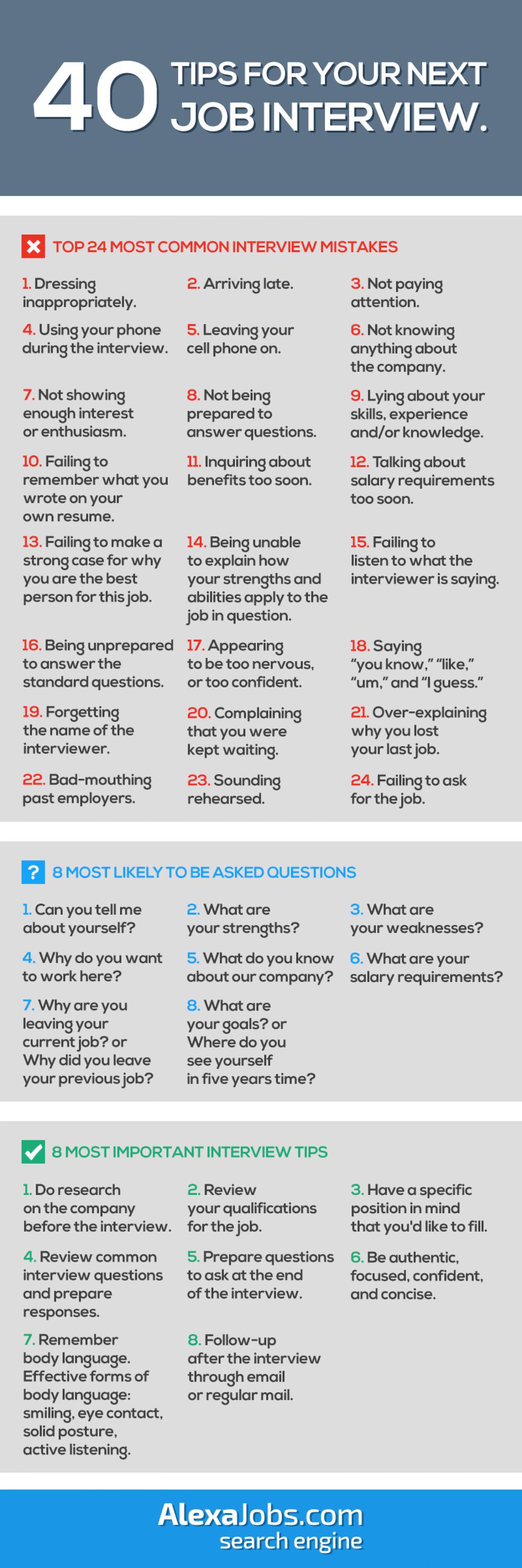 40 Tips For Your Next Job Interview