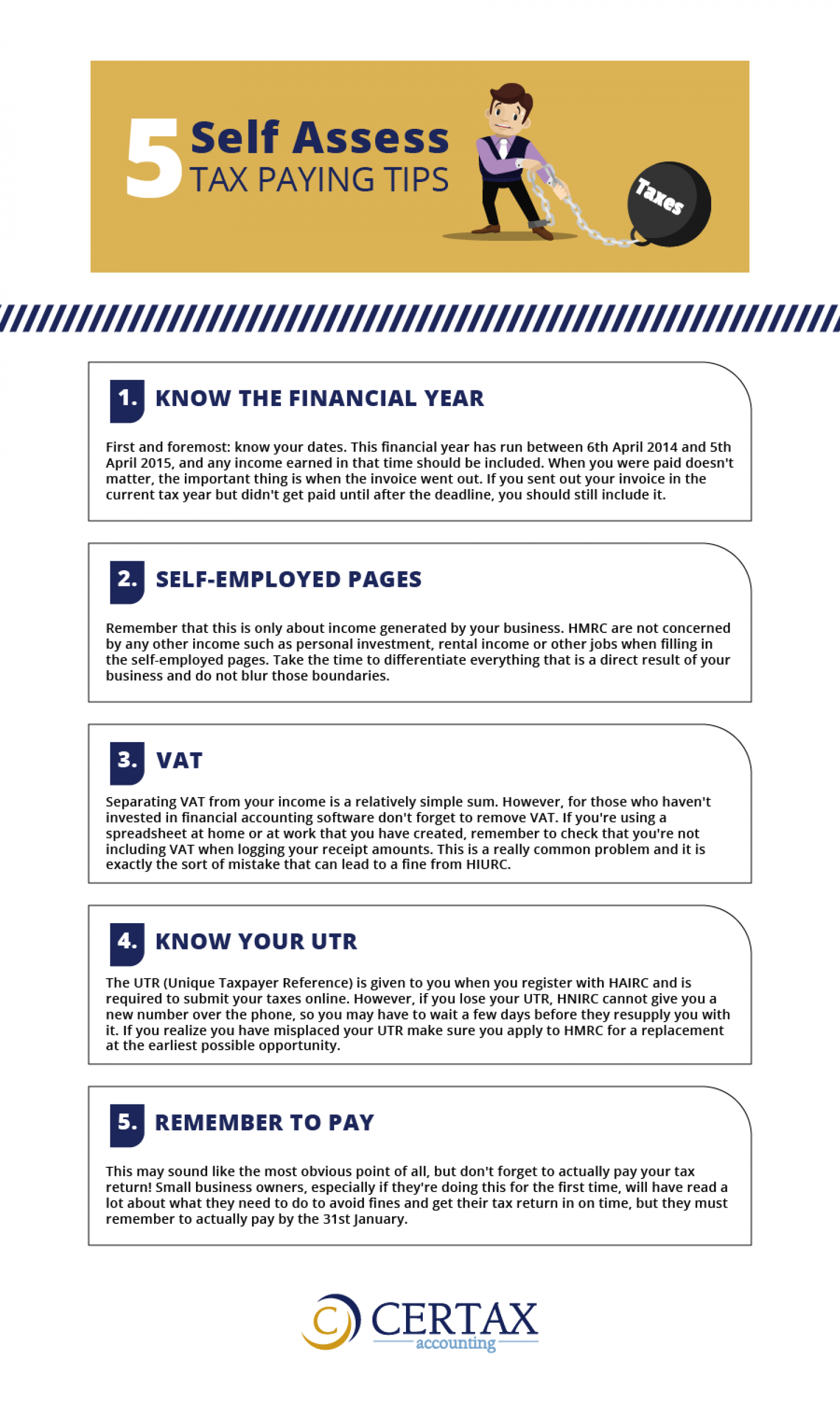 5  Self Assess Tax Paying Tips Infographic