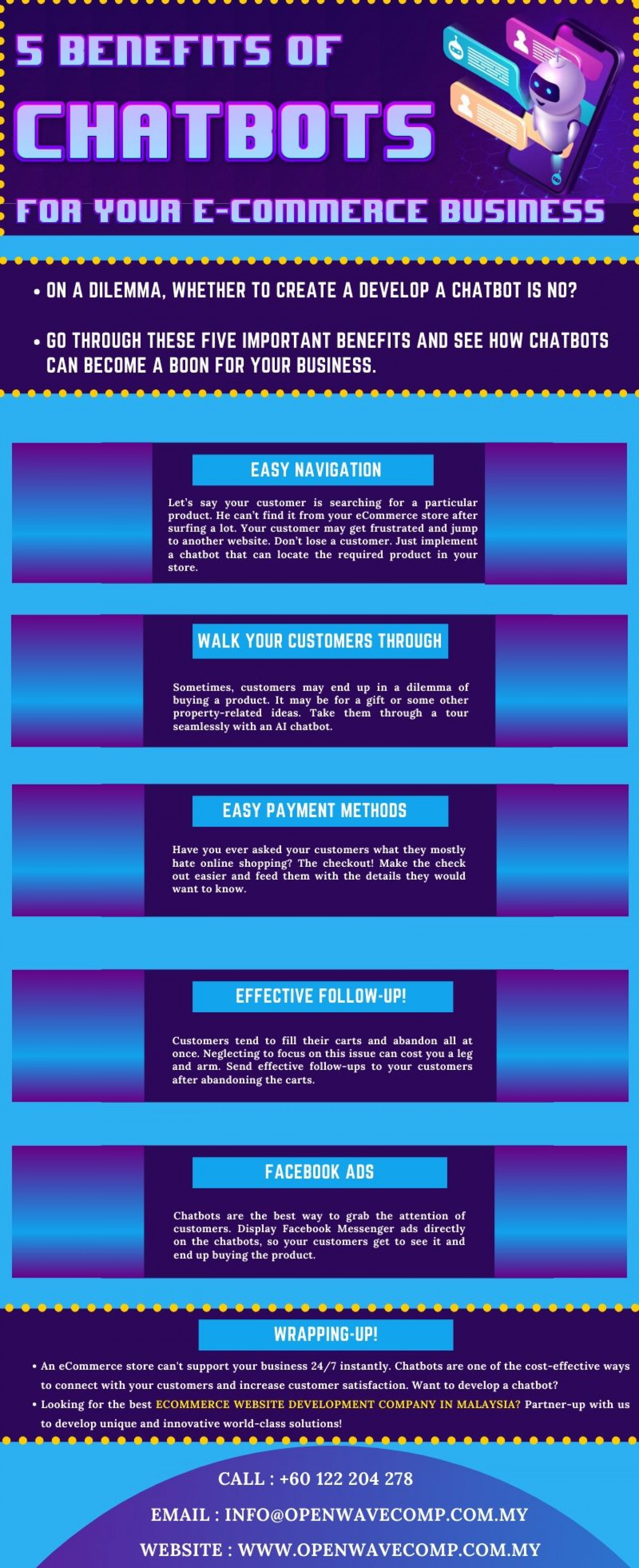 5 Benefits of Chatbots for Your E-Commerce Business Infographic