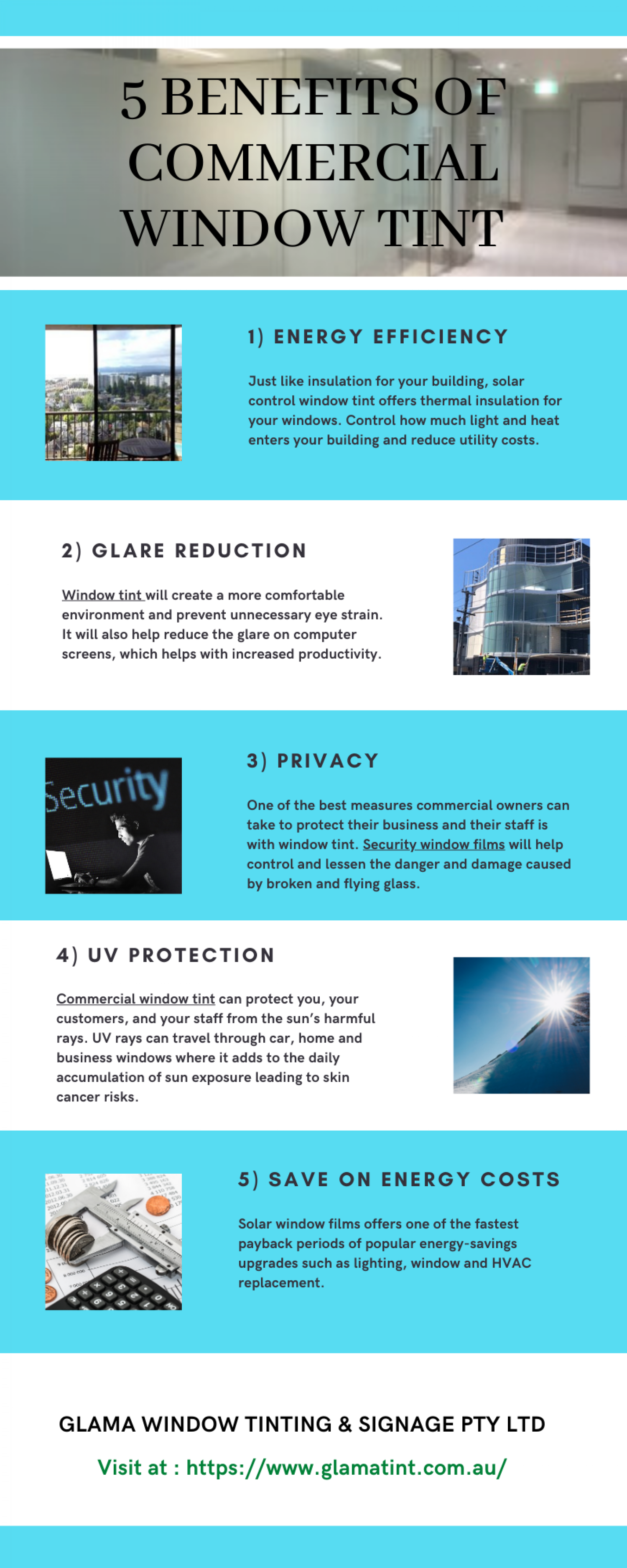 5 Benefits of Commercial Window Tint - Infographic Infographic