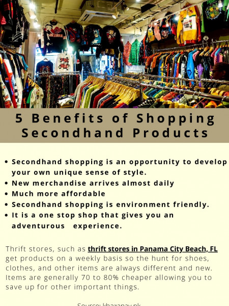 5 Benefits of Shopping Secondhand Products Infographic
