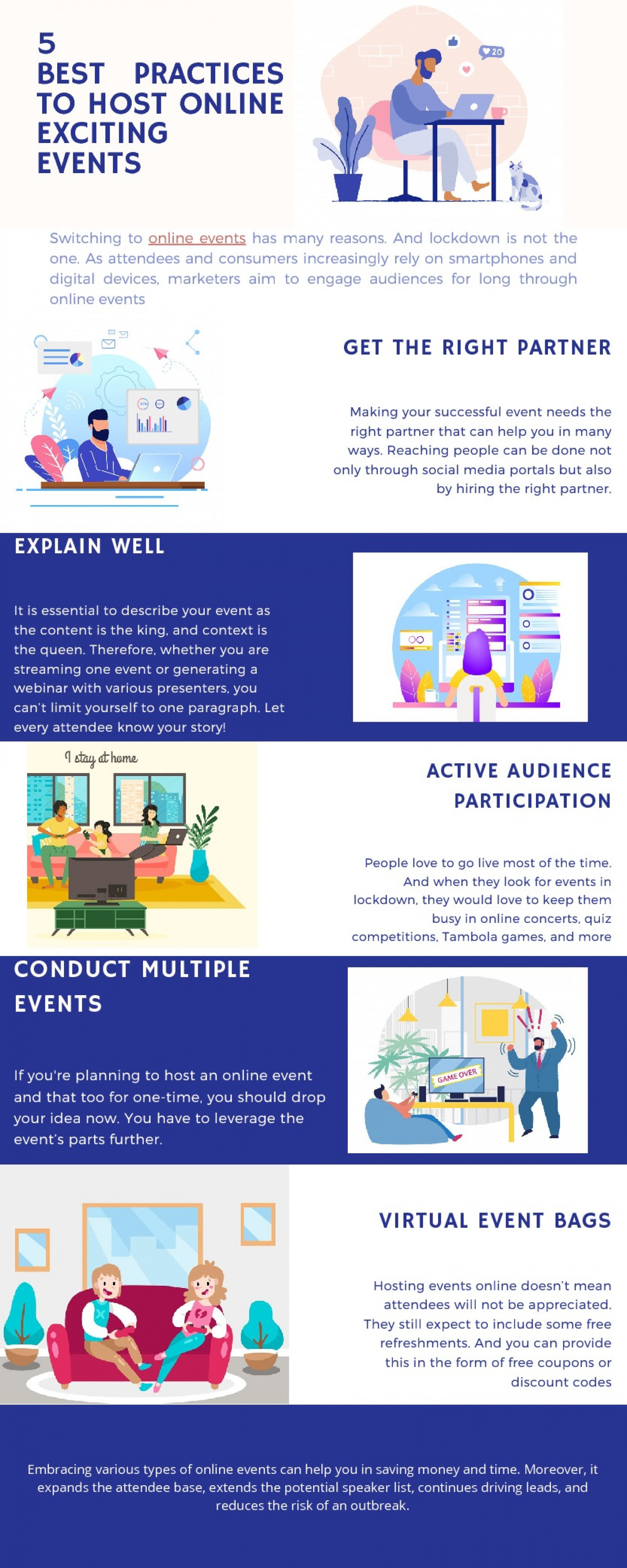 5 Best Practices to Host Exciting Online Events Infographic