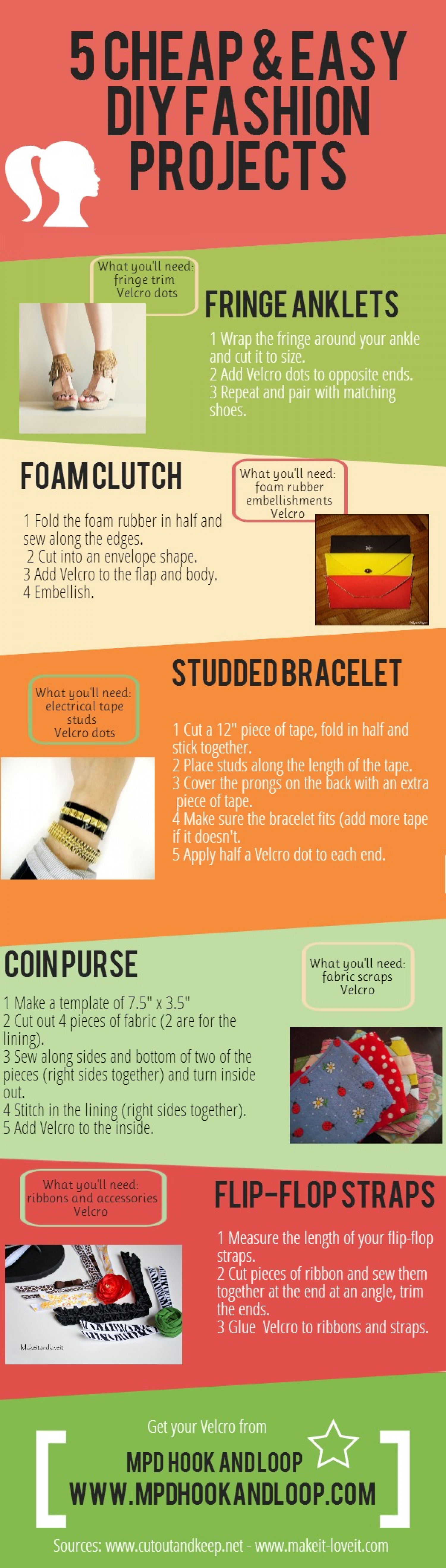5 Cheap & Easy DIY Fashion Projects  Infographic