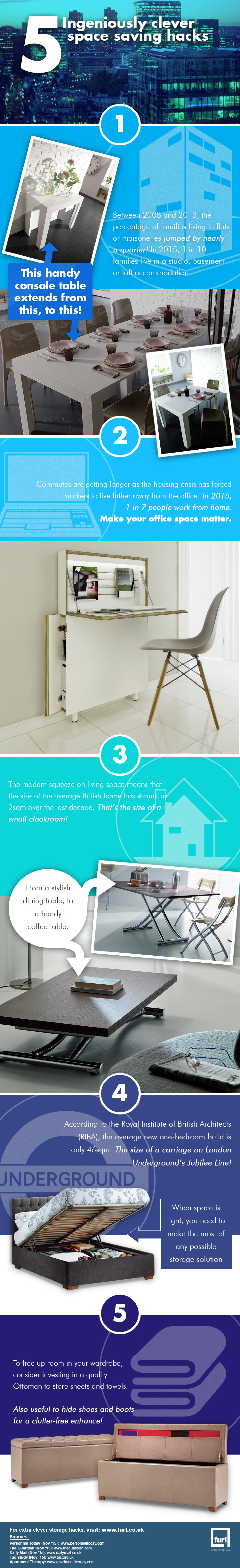 5 Clever Space Saving Hacks Infographic