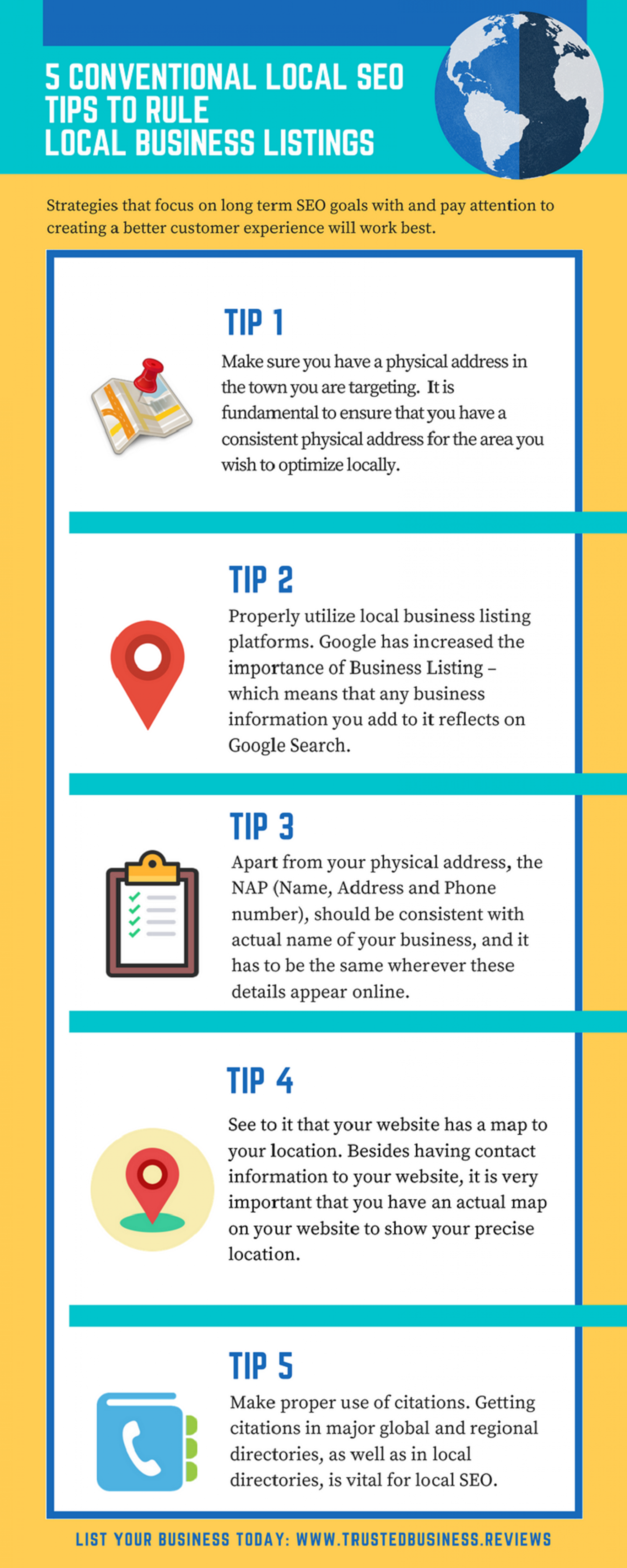 5 Conventional Local SEO tips to rule Local Business Listings Infographic