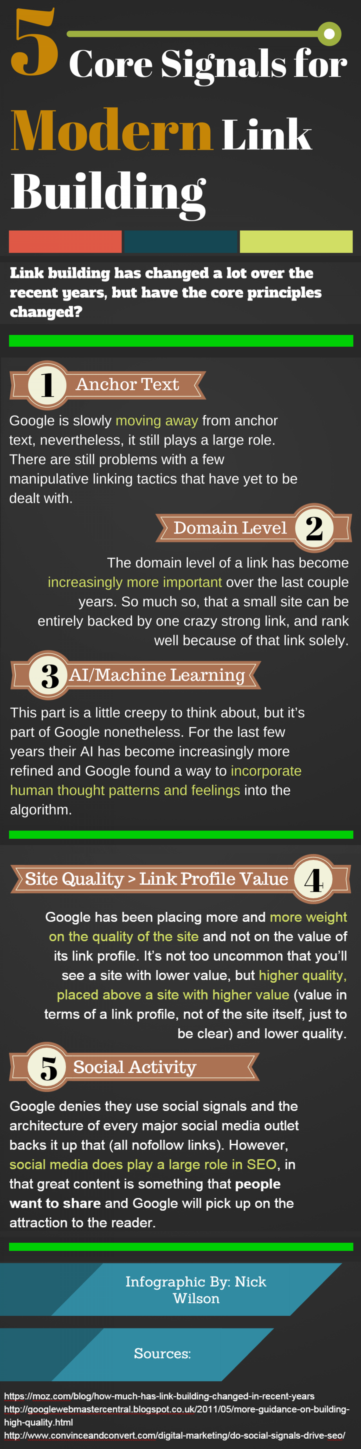 5 Core Signals Surrounding Modern Link Building Infographic