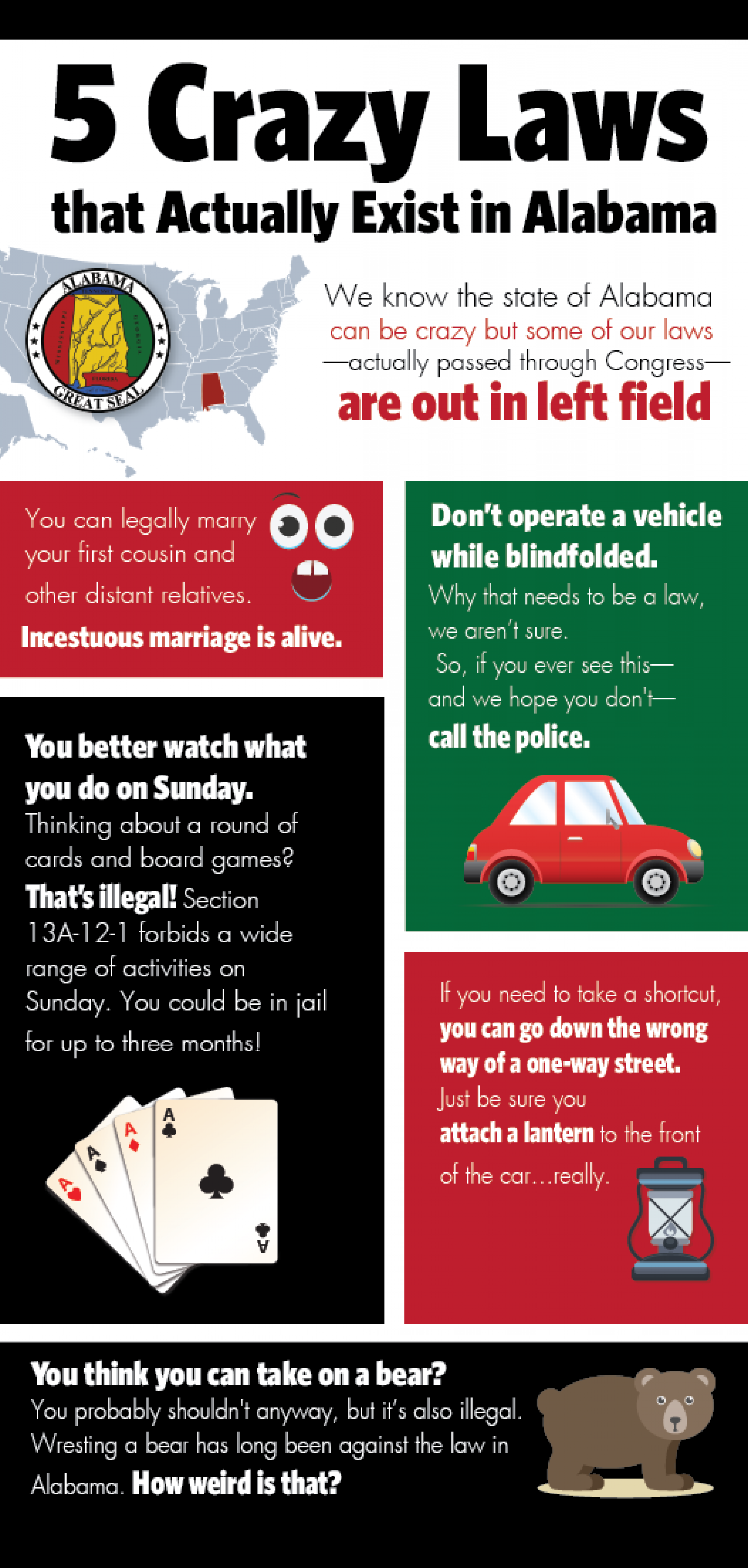5 Crazy Laws that Actually Exist in Alabama Infographic
