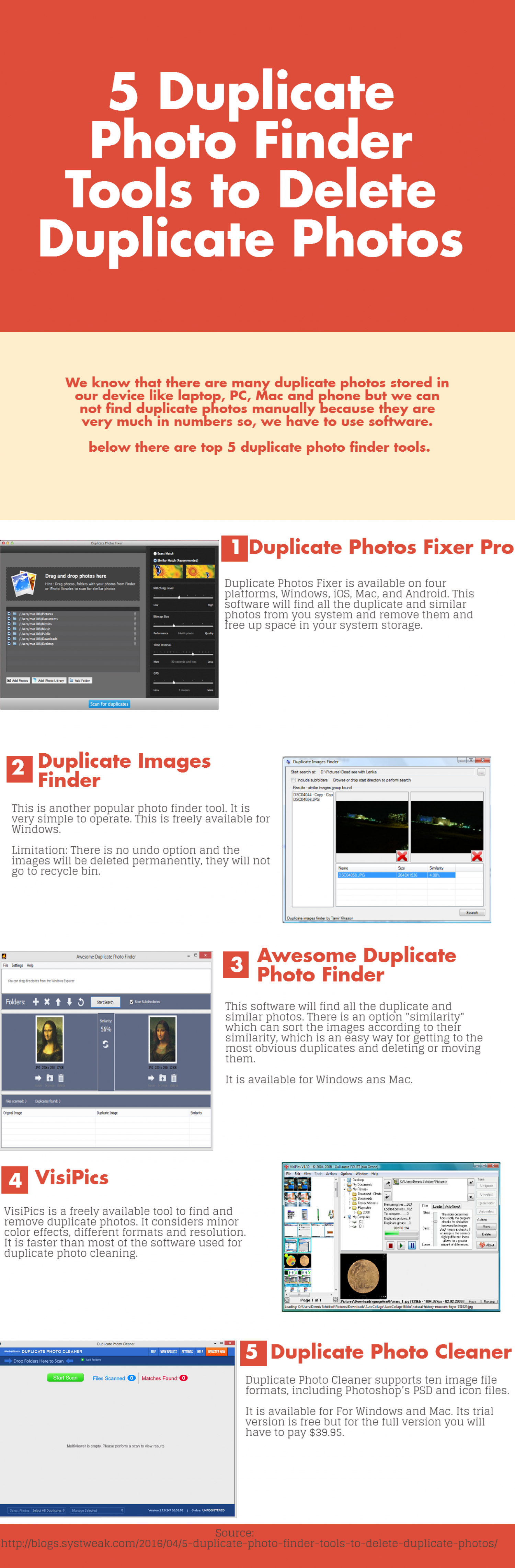 5 Duplicate Photo Finder Tools to Delete Duplicate Photos Infographic