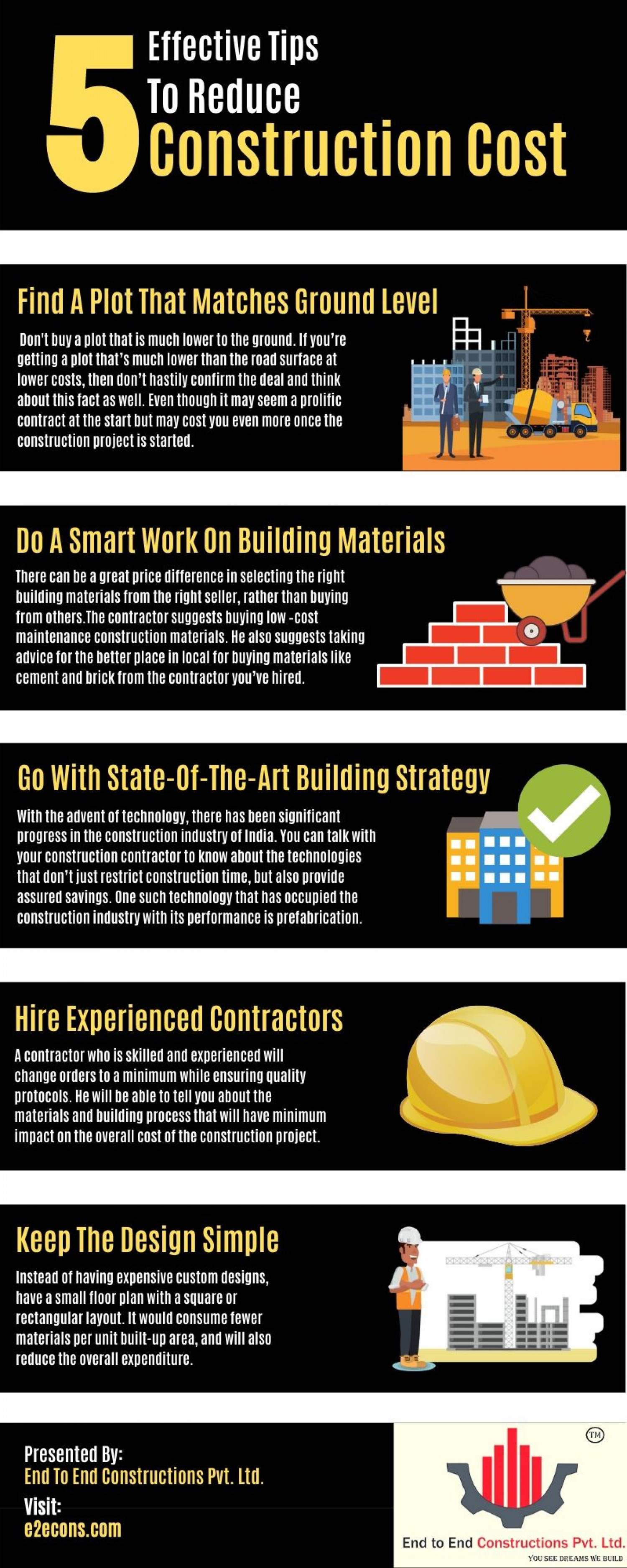 5 Effective Tips To Reduce Construction Cost Infographic