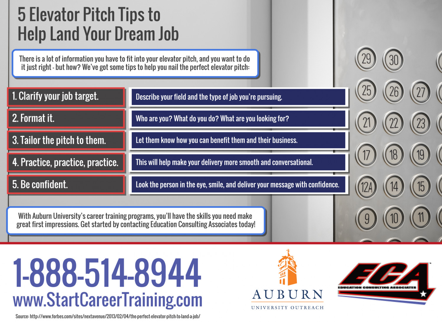 5 Elevator Pitch Tips to Help Land Your Dream Job Infographic