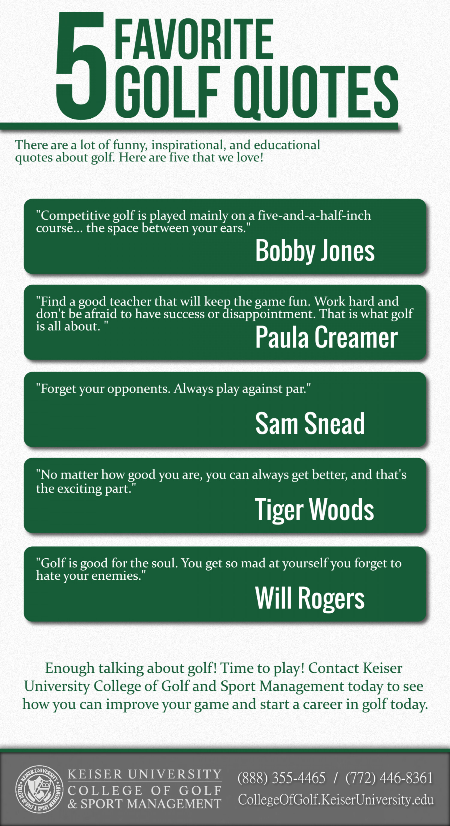 5 Favorite Golf Quotes Infographic