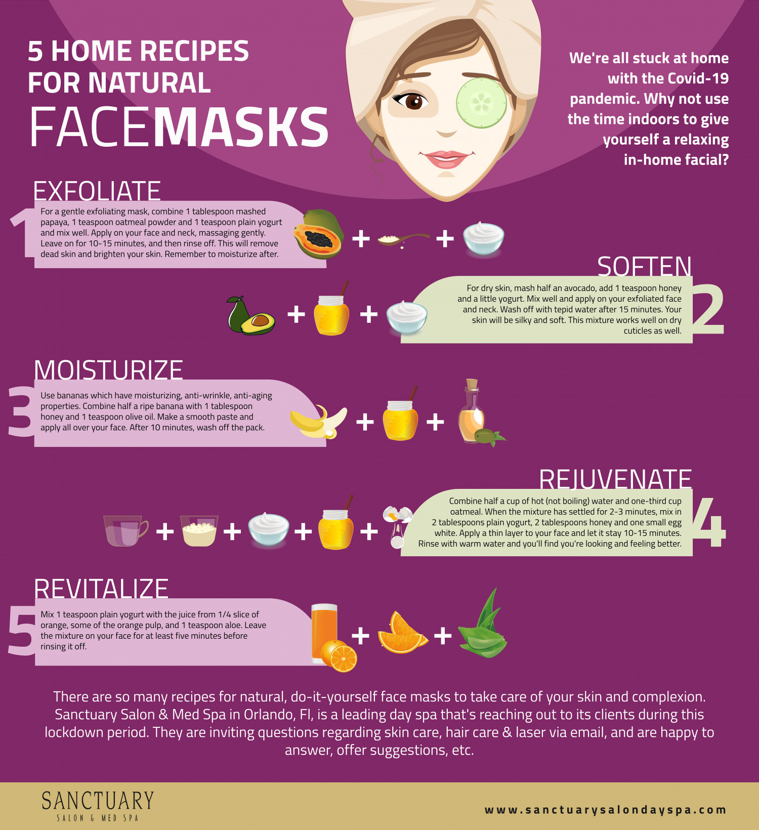 5 HOME RECIPES FOR NATURAL FACE MASKS Infographic