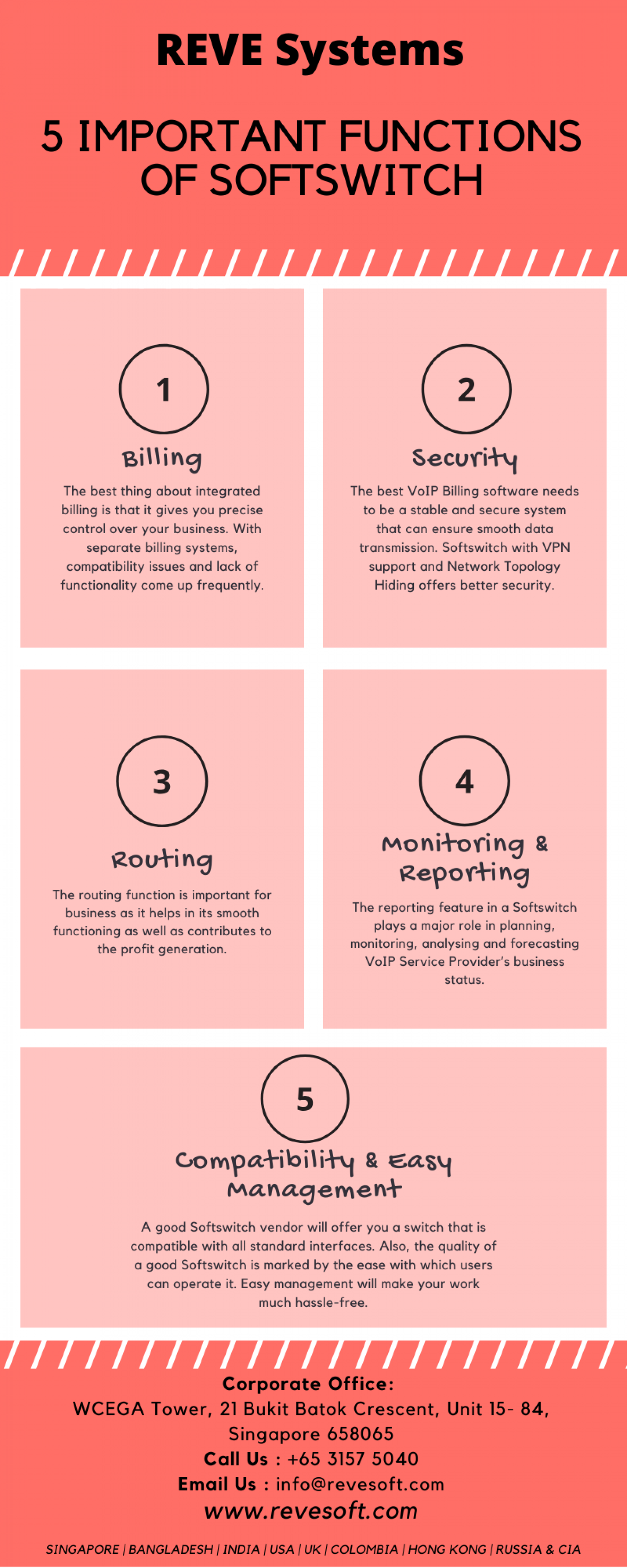 5 Important Functions of Softswitch   REVE Systems Infographic