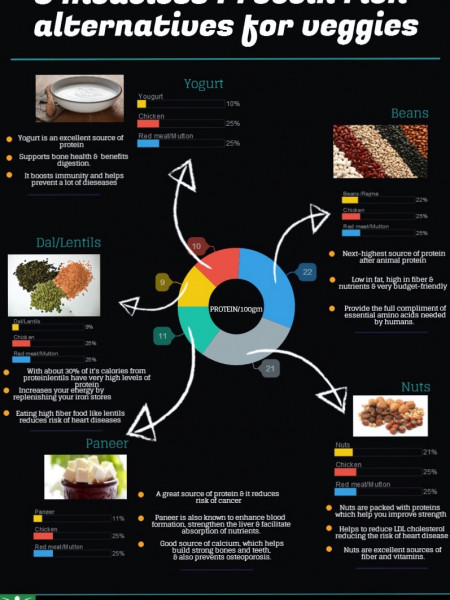 5 Meatless Protein Rich Alternatives for Veggies Infographic